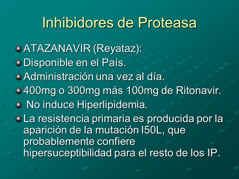 Inhibidores de Proteasa ATAZANAVIR (Reyataz): Disponible en el País. Administración una vez al día. 400mg o 300mg más 100mg de Ritonavir. No induce Hi