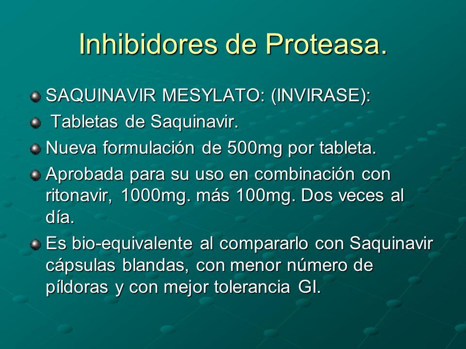 Inhibidores de Proteasa. SAQUINAVIR MESYLATO: (INVIRASE): Tabletas de Saquinavir. Tabletas de Saquinavir. Nueva formulación de 500mg por tableta. Apro