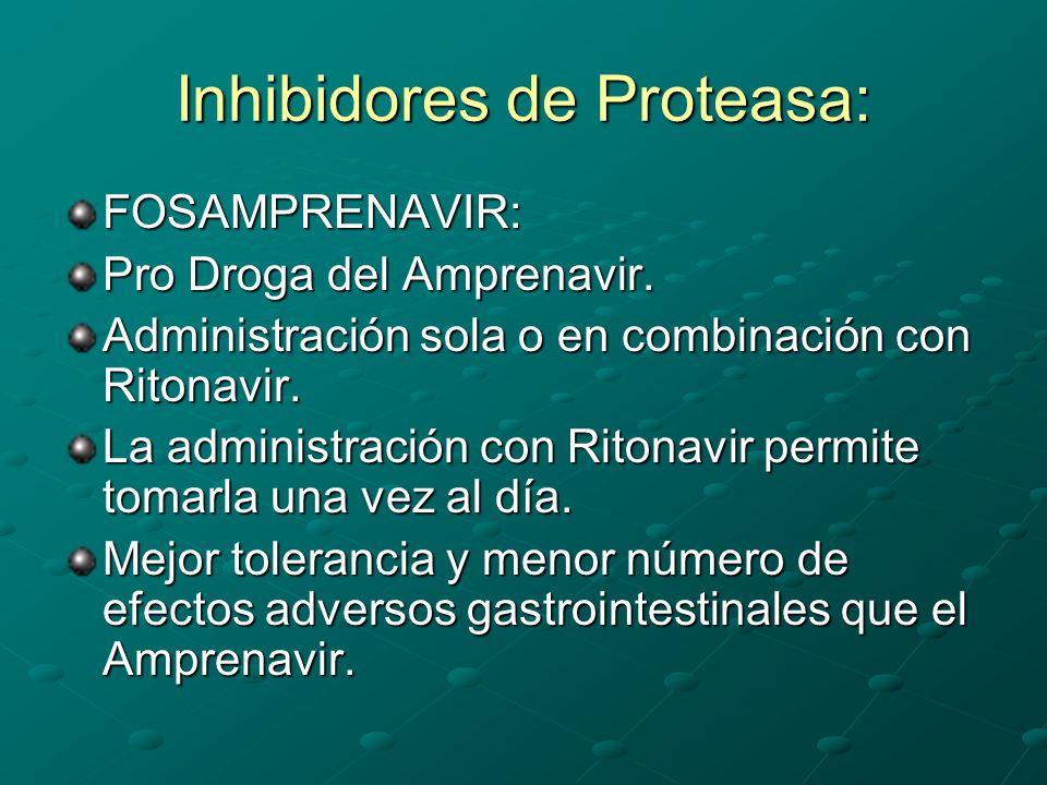 Inhibidores de Proteasa: FOSAMPRENAVIR: Pro Droga del Amprenavir. Administración sola o en combinación con Ritonavir. La administración con Ritonavir