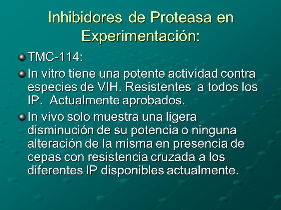 Inhibidores de Proteasa en Experimentación: TMC-114: In vitro tiene una potente actividad contra especies de VIH. Resistentes a todos los IP. Actualme