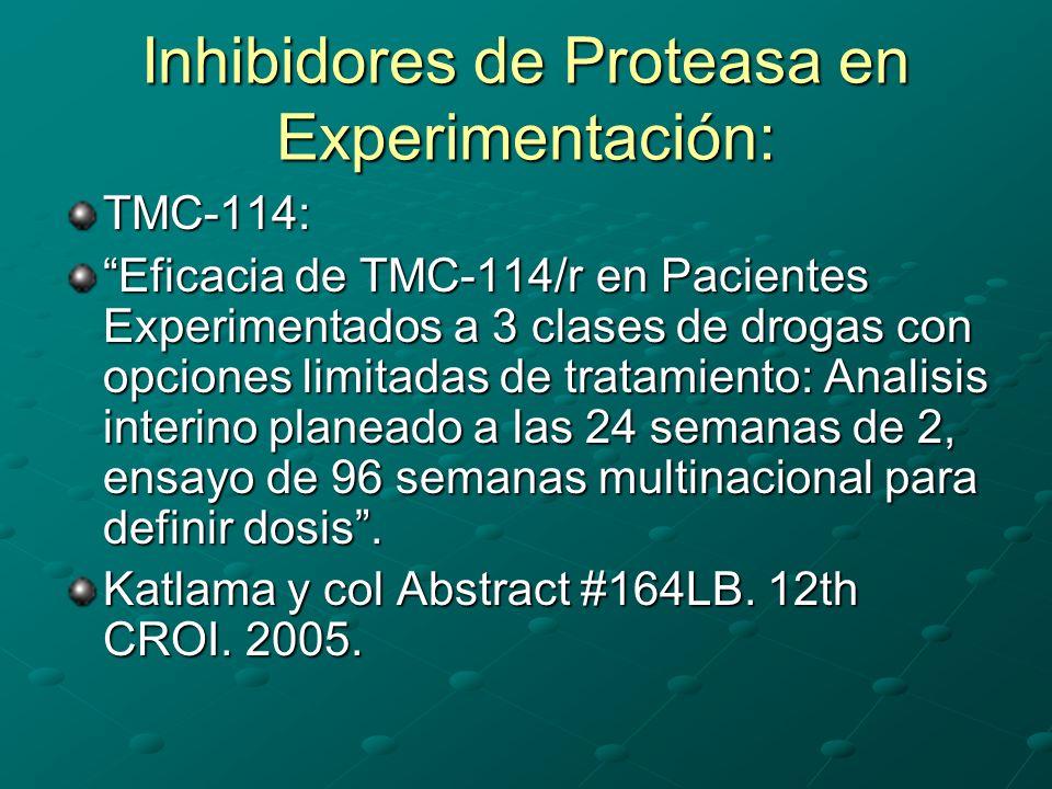 Inhibidores de Proteasa en Experimentación: TMC-114: Eficacia de TMC-114/r en Pacientes Experimentados a 3 clases de drogas con opciones limitadas de