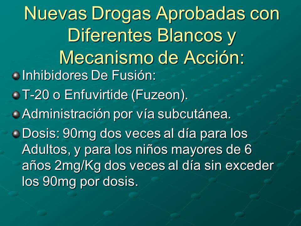 Nuevas Drogas Aprobadas con Diferentes Blancos y Mecanismo de Acción: Inhibidores De Fusión: T-20 o Enfuvirtide (Fuzeon). Administración por vía subcu