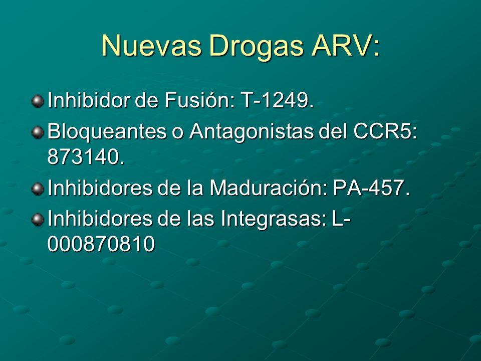 Nuevas Drogas ARV: Inhibidor de Fusión: T-1249. Bloqueantes o Antagonistas del CCR5: 873140. Inhibidores de la Maduración: PA-457. Inhibidores de las