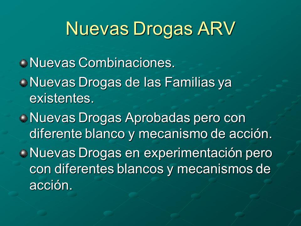 Nuevas Drogas ARV Nuevas Combinaciones. Nuevas Drogas de las Familias ya existentes. Nuevas Drogas Aprobadas pero con diferente blanco y mecanismo de