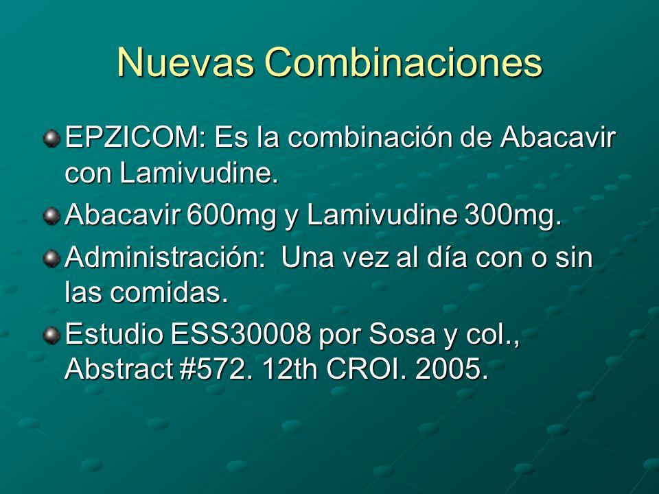 Nuevas Combinaciones EPZICOM: Es la combinación de Abacavir con Lamivudine. Abacavir 600mg y Lamivudine 300mg. Administración: Una vez al día con o si