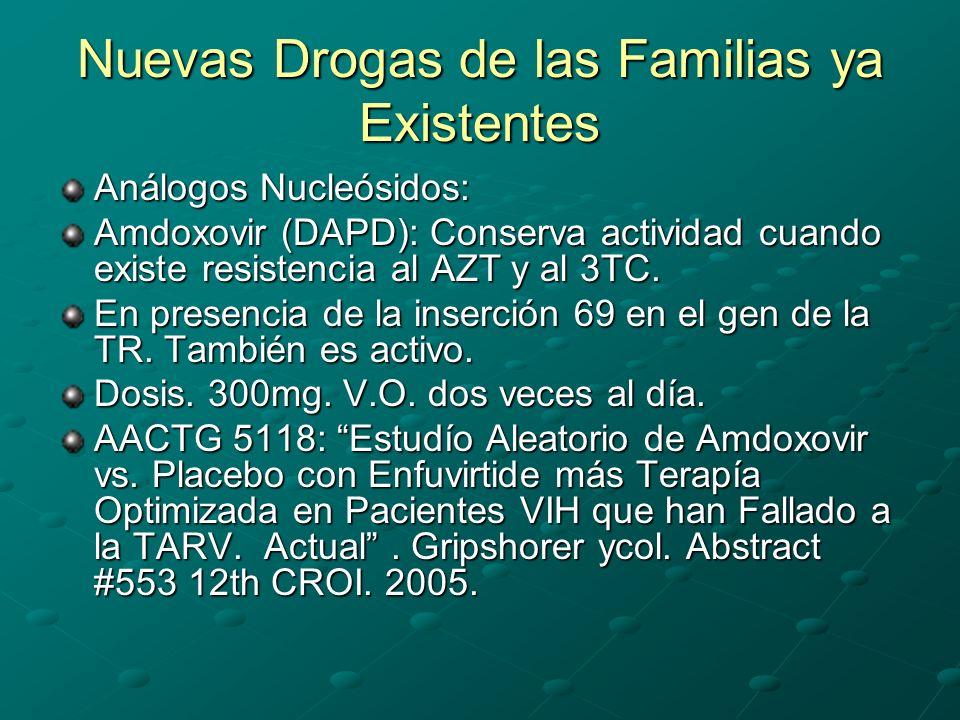 Nuevas Drogas de las Familias ya Existentes Análogos Nucleósidos: Amdoxovir (DAPD): Conserva actividad cuando existe resistencia al AZT y al 3TC. En p