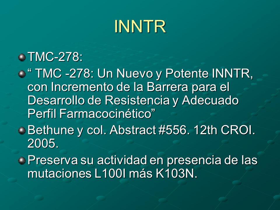 INNTR TMC-278: TMC -278: Un Nuevo y Potente INNTR, con Incremento de la Barrera para el Desarrollo de Resistencia y Adecuado Perfil Farmacocinético TM