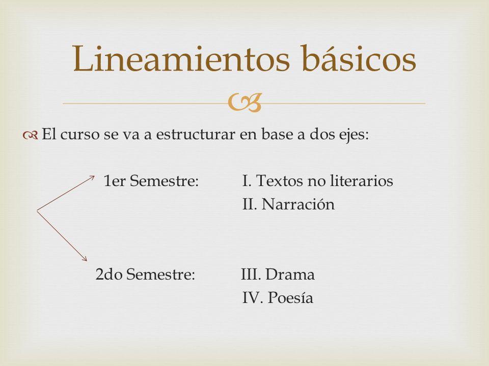 El curso se va a estructurar en base a dos ejes: 1er Semestre: I. Textos no literarios II. Narración 2do Semestre: III. Drama IV. Poesía Lineamientos