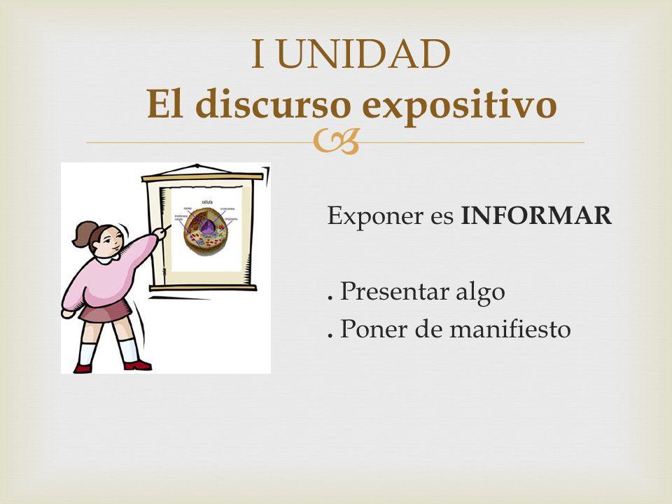 Exponer es INFORMAR. Presentar algo. Poner de manifiesto I UNIDAD El discurso expositivo