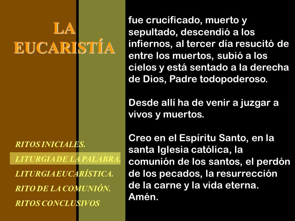 RITOS INICIALES. LITURGIA DE LA PALABRA. LITURGIA EUCARÍSTICA. RITO DE LA COMUNIÓN. RITOS CONCLUSIVOS LAEUCARISTÍA fue crucificado, muerto y sepultado