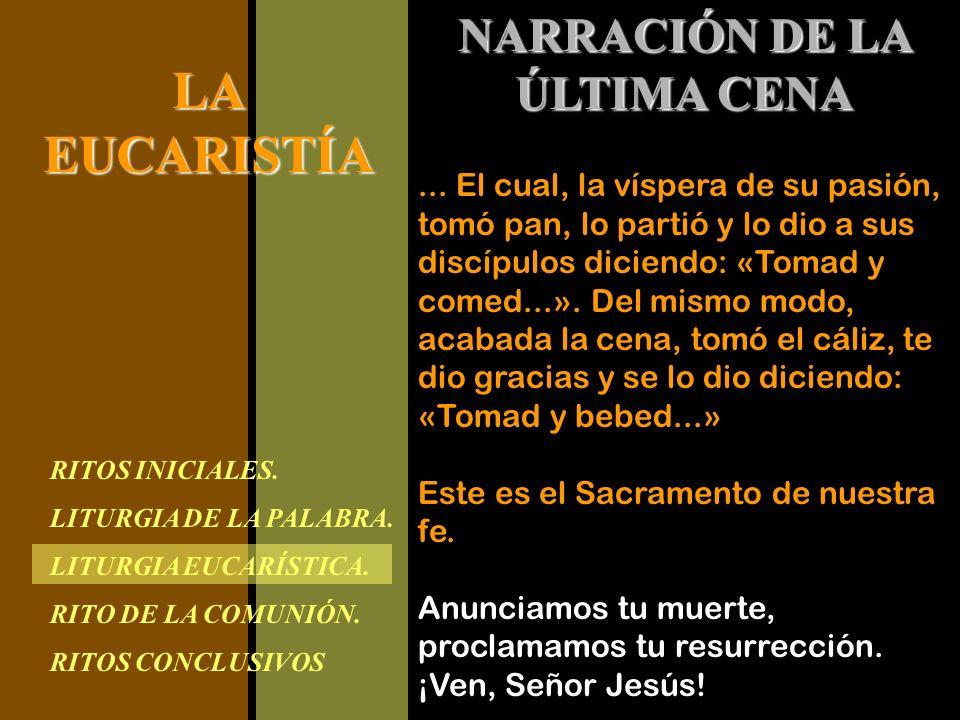 RITOS INICIALES. LITURGIA DE LA PALABRA. LITURGIA EUCARÍSTICA. RITO DE LA COMUNIÓN. RITOS CONCLUSIVOS LAEUCARISTÍA NARRACIÓN DE LA ÚLTIMA CENA... El c