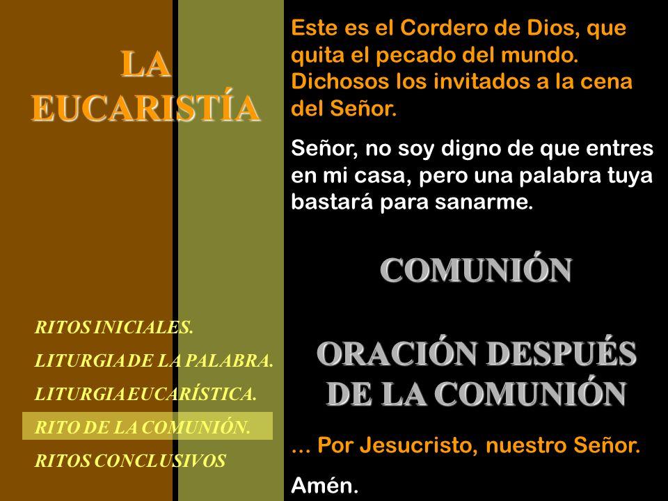 RITOS INICIALES. LITURGIA DE LA PALABRA. LITURGIA EUCARÍSTICA. RITO DE LA COMUNIÓN. RITOS CONCLUSIVOS LAEUCARISTÍA Este es el Cordero de Dios, que qui