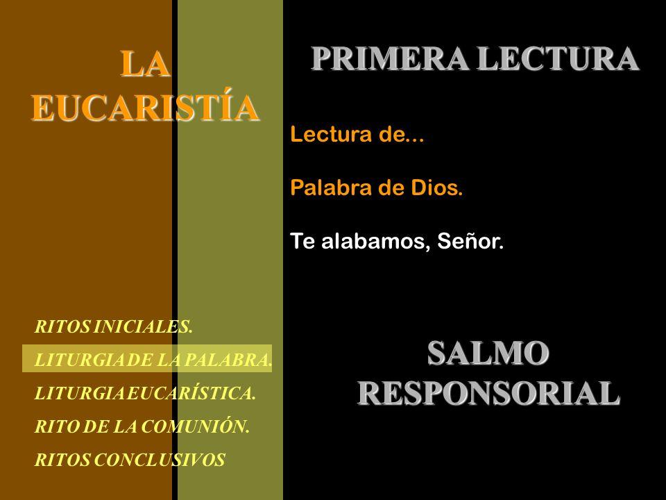 RITOS INICIALES. LITURGIA DE LA PALABRA. LITURGIA EUCARÍSTICA. RITO DE LA COMUNIÓN. RITOS CONCLUSIVOS LAEUCARISTÍA PRIMERA LECTURA Lectura de... Palab