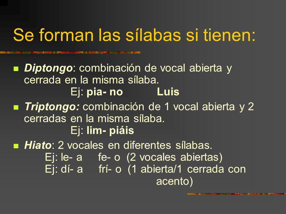 Se forman las sílabas si tienen: Diptongo: combinación de vocal abierta y cerrada en la misma sílaba.