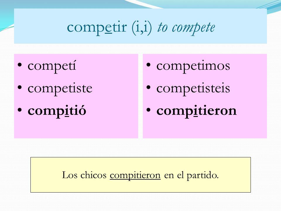 competir (i,i) to compete Los chicos compitieron en el partido. competí competiste compitió competimos competisteis compitieron