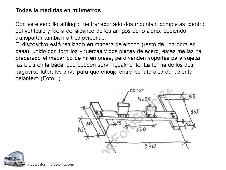 Todas la medidas en milímetros.