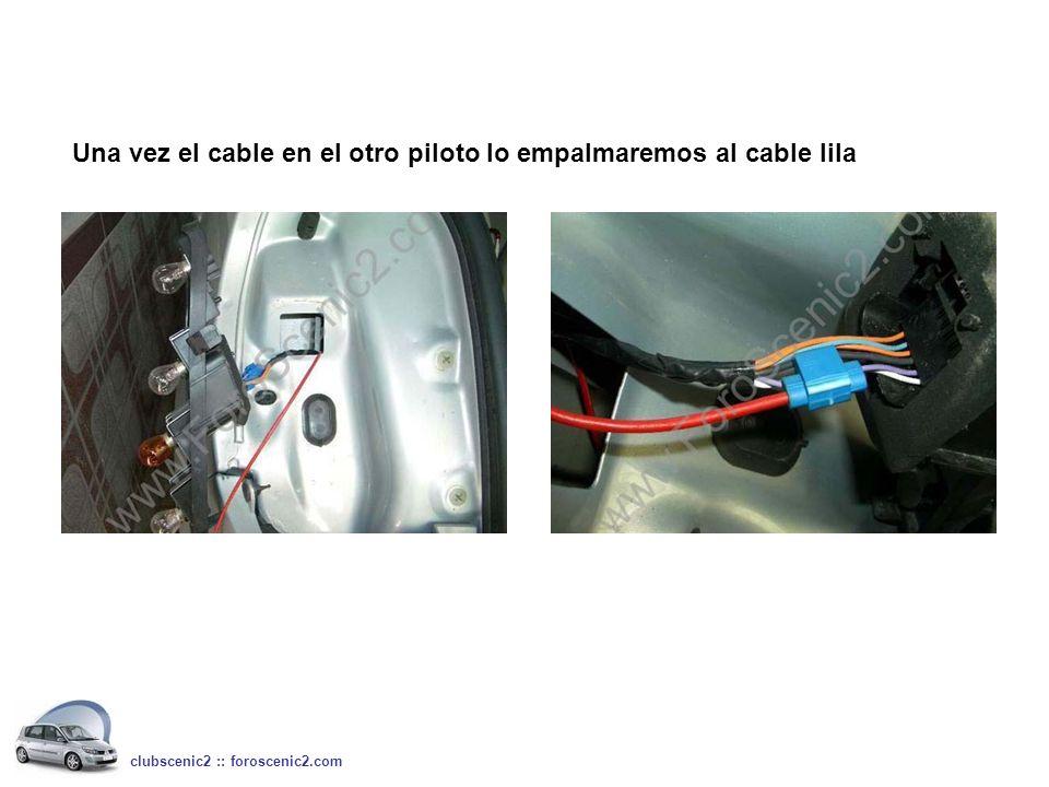 Una vez el cable en el otro piloto lo empalmaremos al cable lila clubscenic2 :: foroscenic2.com