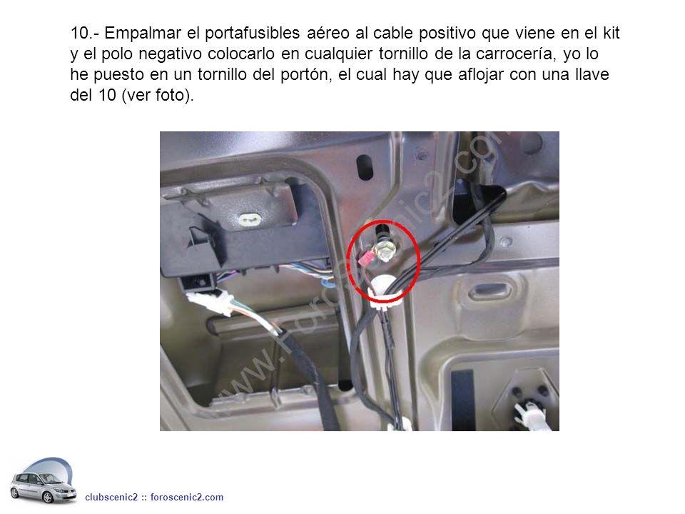 10.- Empalmar el portafusibles aéreo al cable positivo que viene en el kit y el polo negativo colocarlo en cualquier tornillo de la carrocería, yo lo