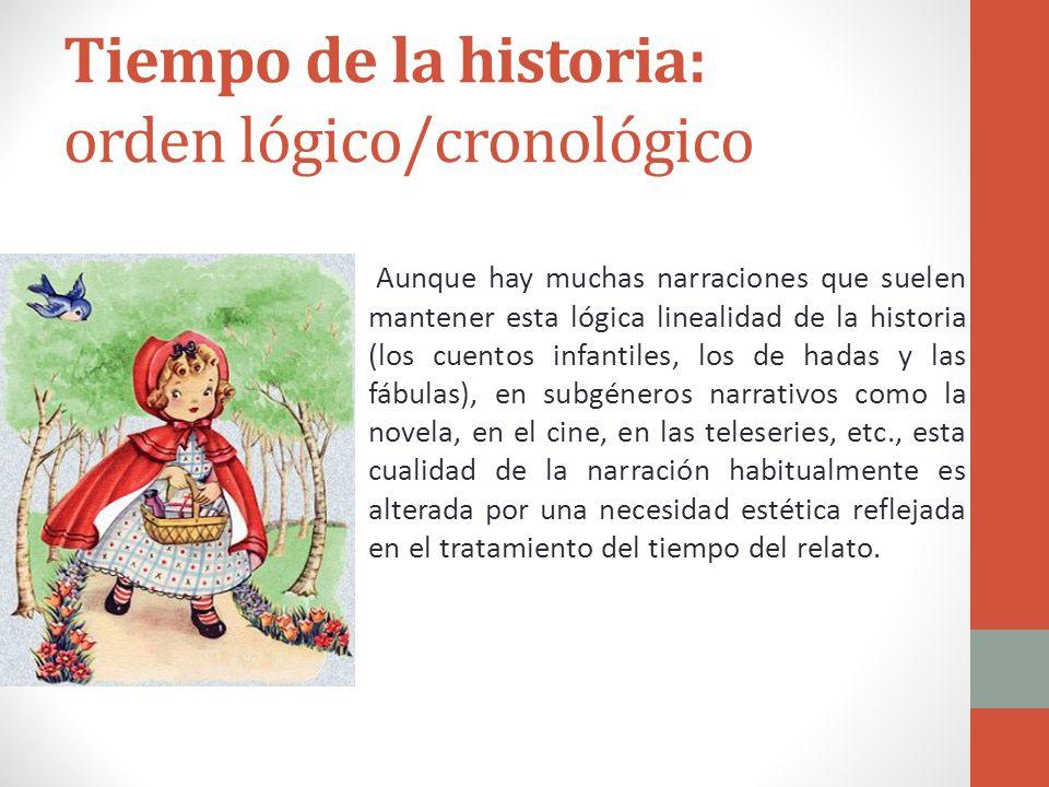 Tiempo de la historia El tiempo de la historia se refiere a aquella cualidad temporal de toda narración que cuenta con un inicio de las acciones, un d