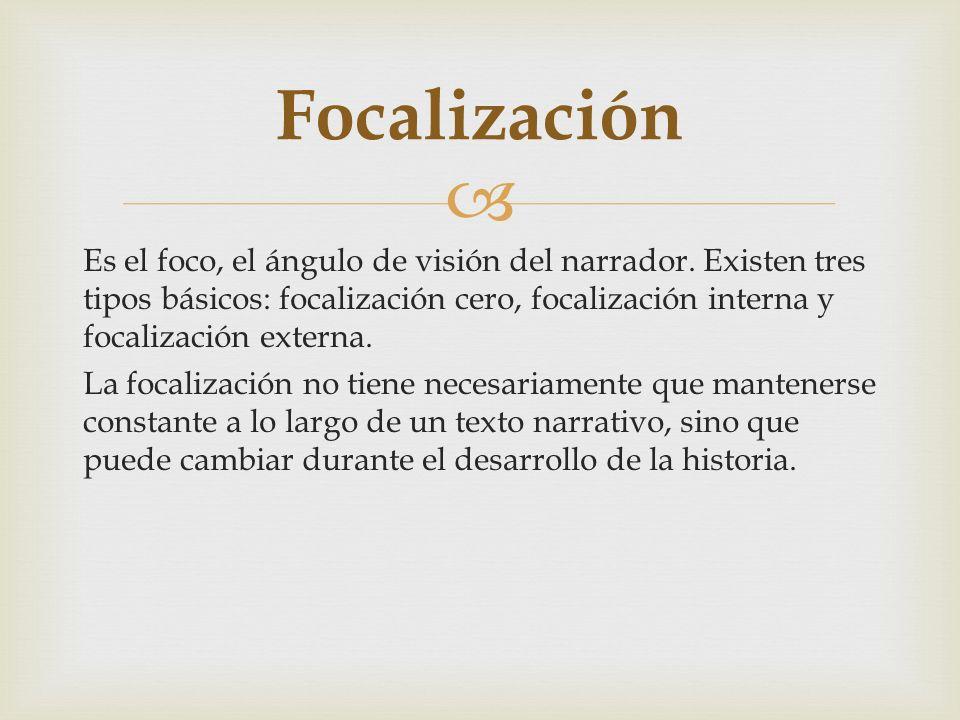 Es el foco, el ángulo de visión del narrador. Existen tres tipos básicos: focalización cero, focalización interna y focalización externa. La focalizac