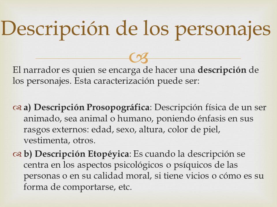 El narrador es quien se encarga de hacer una descripción de los personajes. Esta caracterización puede ser: a) Descripción Prosopográfica : Descripció