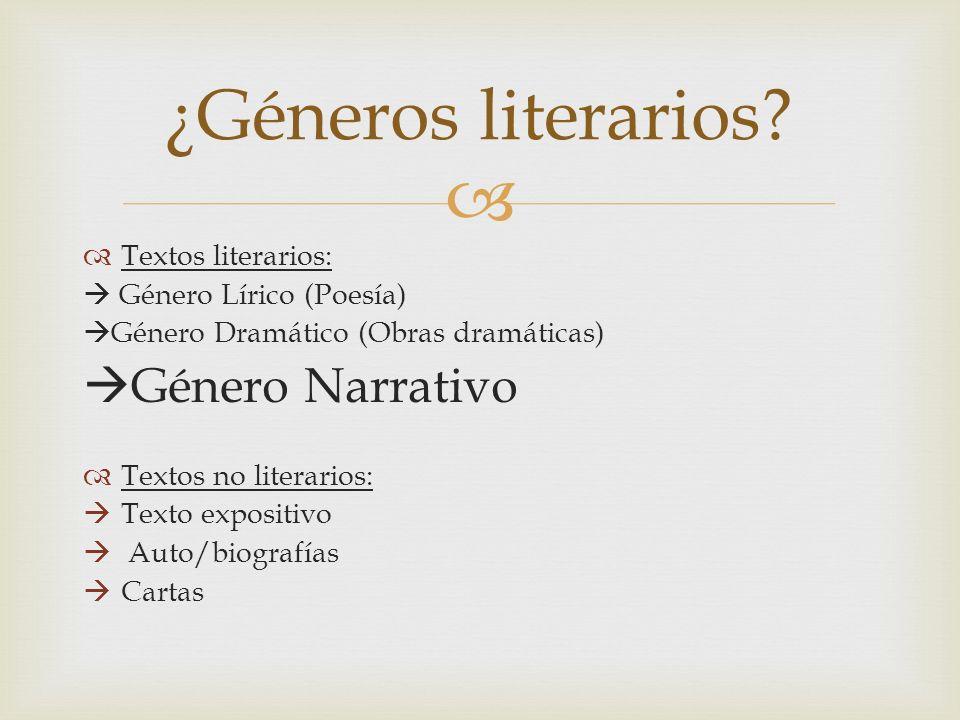 Textos literarios: Género Lírico (Poesía) Género Dramático (Obras dramáticas) Género Narrativo Textos no literarios: Texto expositivo Auto/biografías