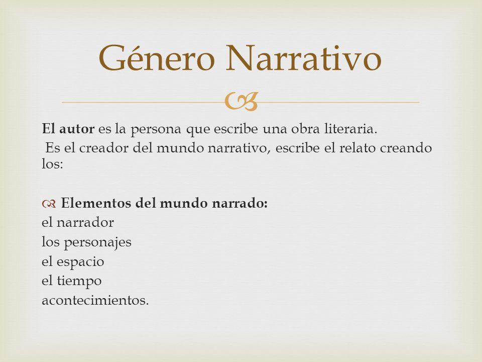 El autor es la persona que escribe una obra literaria. Es el creador del mundo narrativo, escribe el relato creando los: Elementos del mundo narrado: