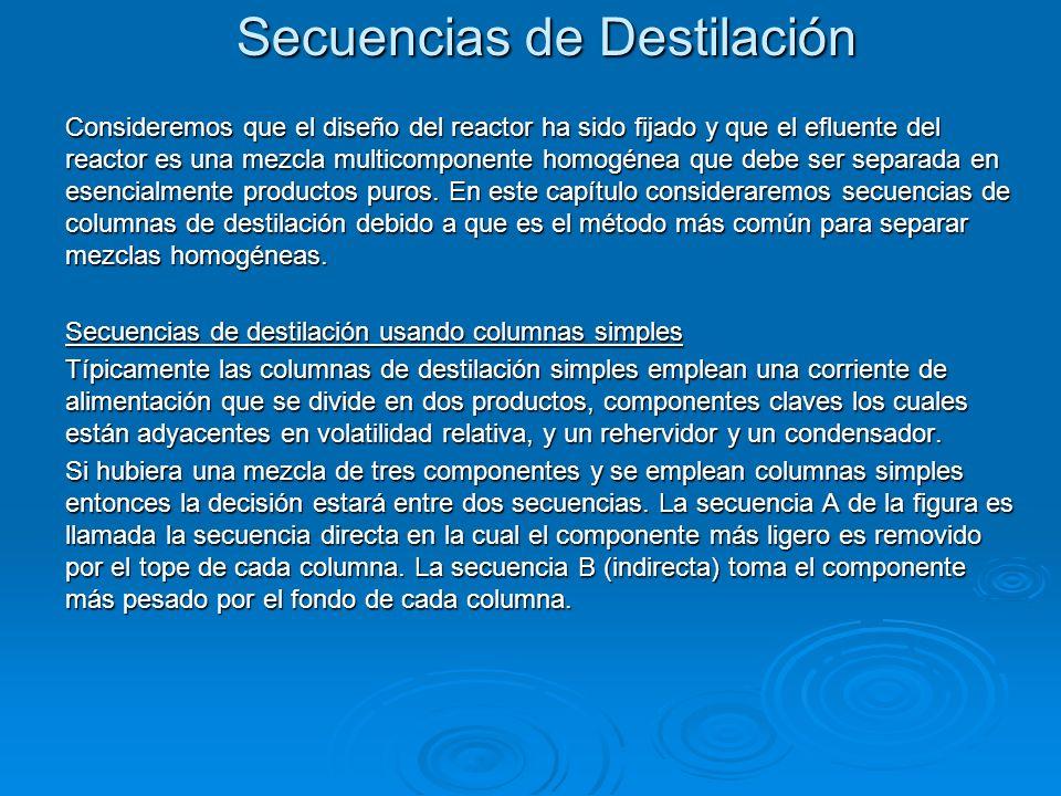 Secuencias de Destilación Consideremos que el diseño del reactor ha sido fijado y que el efluente del reactor es una mezcla multicomponente homogénea