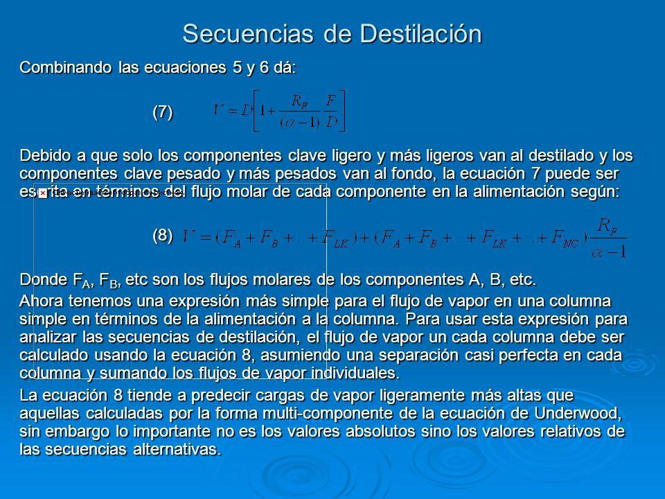 Combinando las ecuaciones 5 y 6 dá: (7) Debido a que solo los componentes clave ligero y más ligeros van al destilado y los componentes clave pesado y