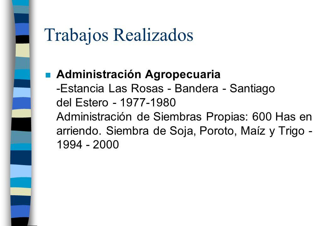 Cursos, Seminarios y Congresos n Primera Reunión del Este Tucumano INTA Famaillá - Tucumán - 1981 n Política de Precios Agropecuarios Universidad de L