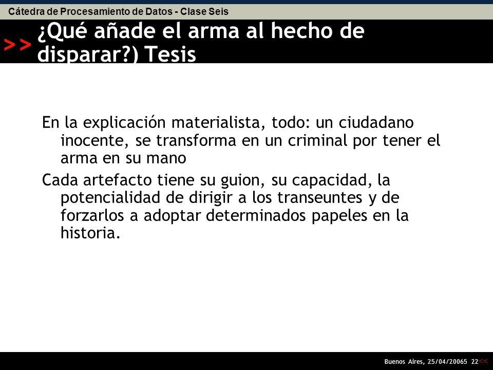 Cátedra de Procesamiento de Datos - Clase Seis << >> Buenos Aires, 25/04/20065 21 La gente mata a la gente no las armas (NRA) El arma no hace nada por si misma o en virtud de sus componentes materiales.
