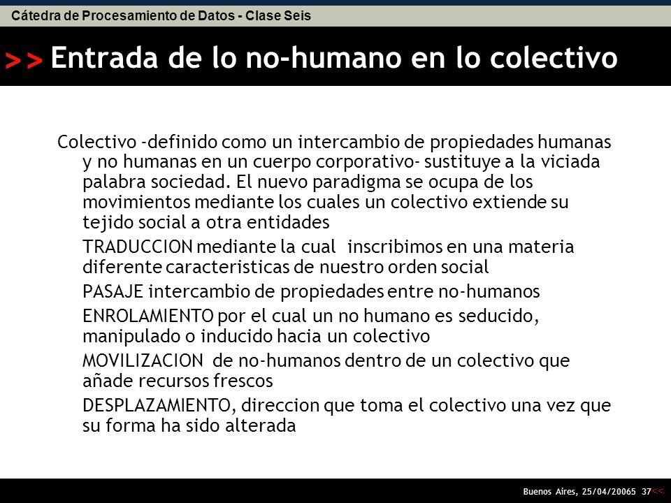 Cátedra de Procesamiento de Datos - Clase Seis << >> Buenos Aires, 25/04/20065 36 1.Orígenes del enfoque Ciencia,Tecnología y Sociedad 2.Introducción a Latour 3.