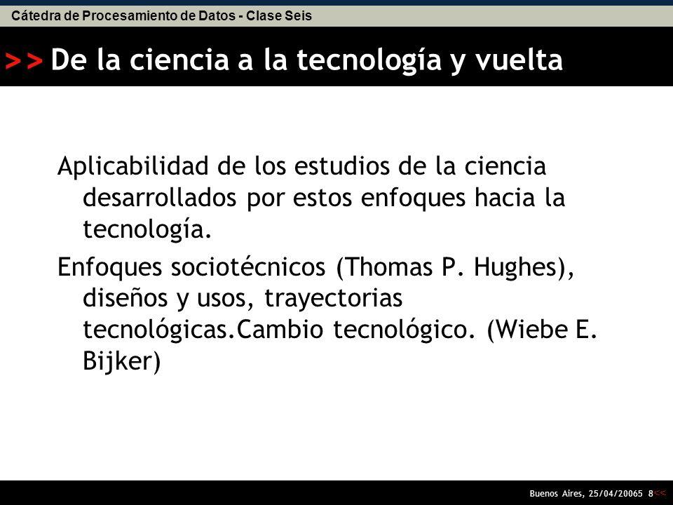 Cátedra de Procesamiento de Datos - Clase Seis << >> Buenos Aires, 25/04/20065 7 El constructivismo como enfoque central El Programa Fuerte y el EPOR minimizan al extremo el papel de la naturaleza en la resolución de las controversias científicas.