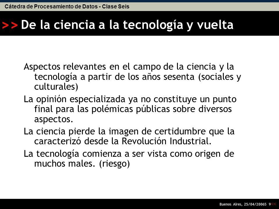 Cátedra de Procesamiento de Datos - Clase Seis << >> Buenos Aires, 25/04/20065 9 De la ciencia a la tecnología y vuelta Aspectos relevantes en el campo de la ciencia y la tecnología a partir de los años sesenta (sociales y culturales) La opinión especializada ya no constituye un punto final para las polémicas públicas sobre diversos aspectos.