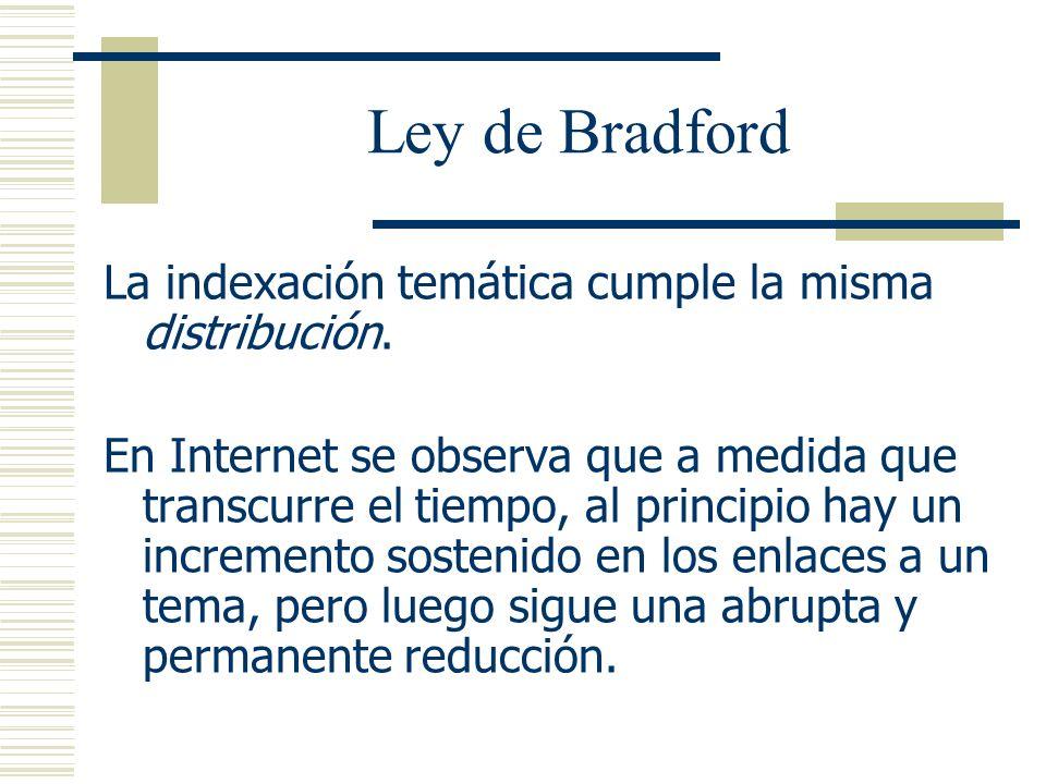 Ley de Bradford La indexación temática cumple la misma distribución. En Internet se observa que a medida que transcurre el tiempo, al principio hay un
