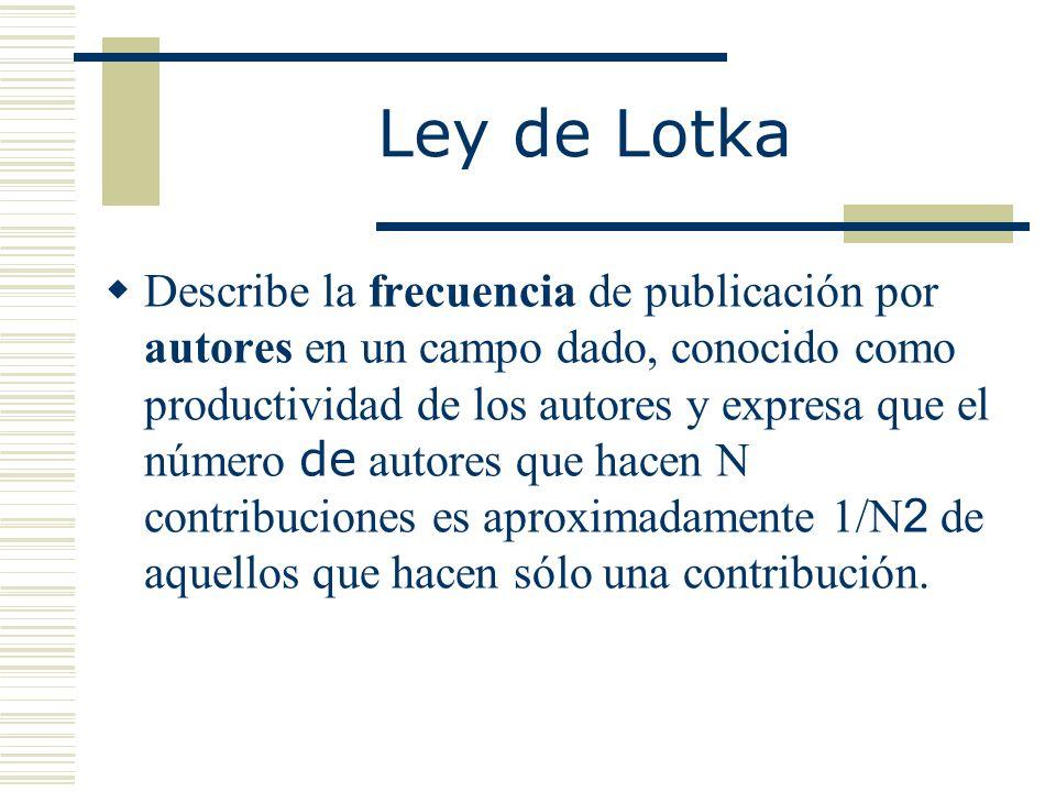 Ley de Lotka Describe la frecuencia de publicación por autores en un campo dado, conocido como productividad de los autores y expresa que el número de