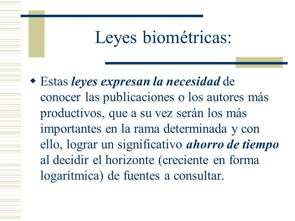 Leyes biométricas: Estas leyes expresan la necesidad de conocer las publicaciones o los autores más productivos, que a su vez serán los más importante