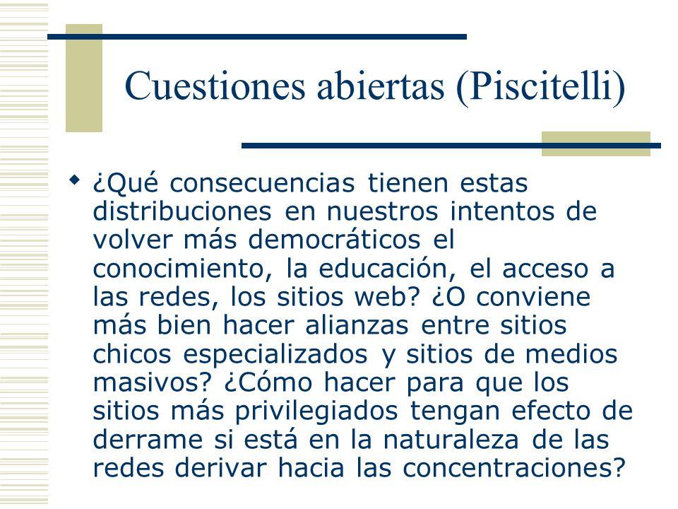 Cuestiones abiertas (Piscitelli) ¿Qué consecuencias tienen estas distribuciones en nuestros intentos de volver más democráticos el conocimiento, la ed