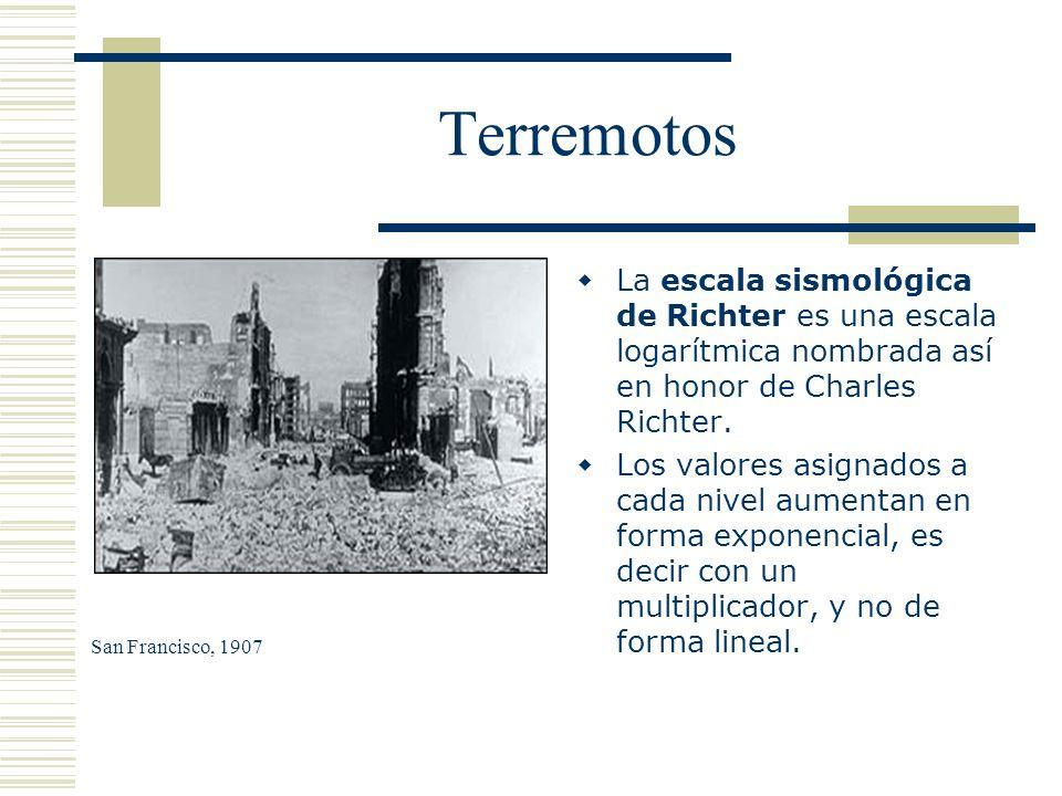 Terremotos La escala sismológica de Richter es una escala logarítmica nombrada así en honor de Charles Richter. Los valores asignados a cada nivel aum