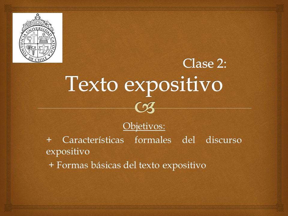 Respecto al texto expositivo, ya hemos visto tres aspectos fundamentales: Definición: ¿Qué caracteriza el discurso expositivo.