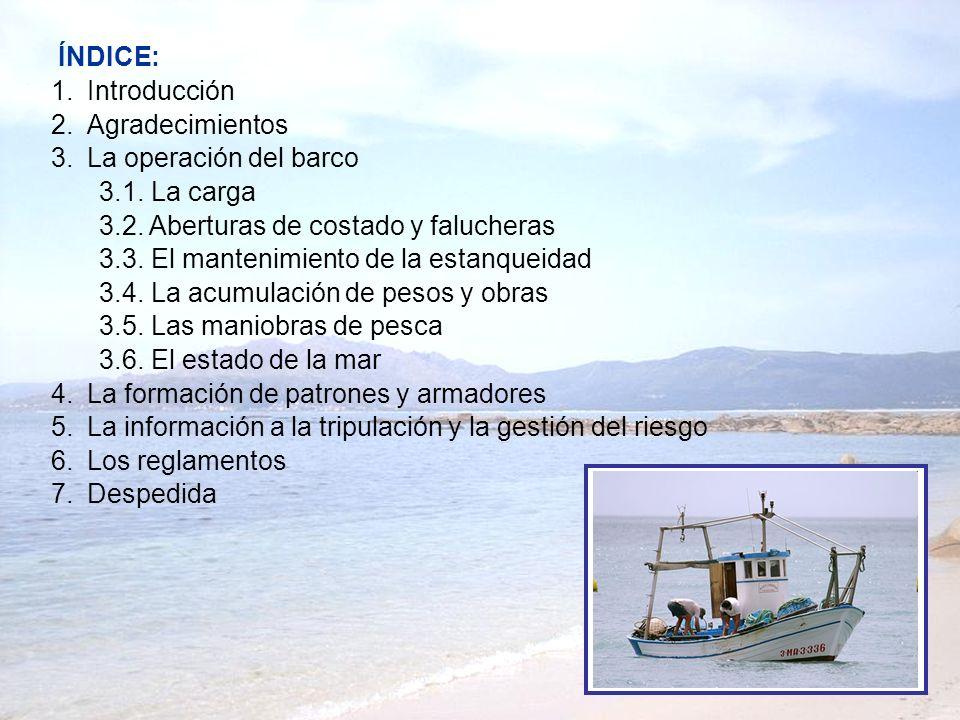 1.Introducción 2.Agradecimientos 3.La operación del barco 3.1. La carga 3.2. Aberturas de costado y falucheras 3.3. El mantenimiento de la estanqueida
