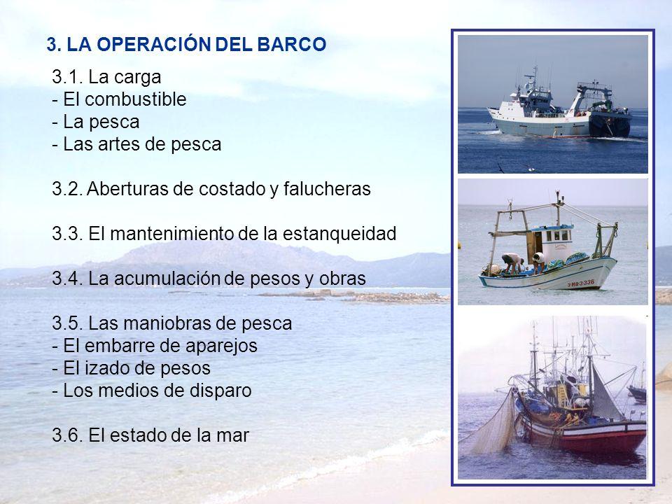 3. LA OPERACIÓN DEL BARCO 3.1. La carga - El combustible - La pesca - Las artes de pesca 3.2. Aberturas de costado y falucheras 3.3. El mantenimiento