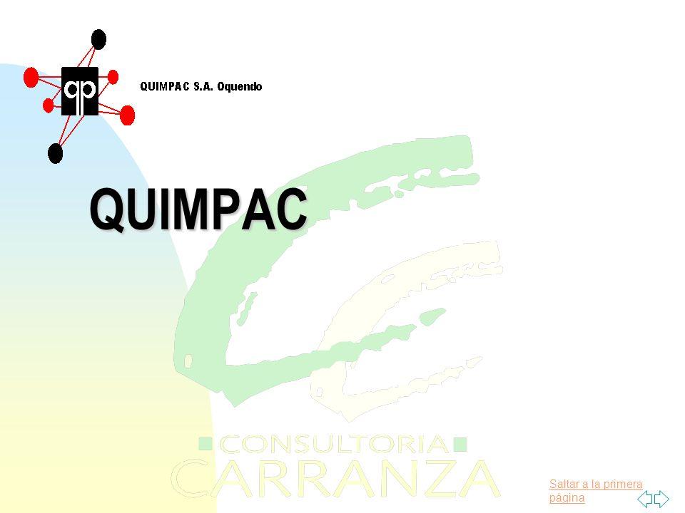 Saltar a la primera página PLANTAS EVALUADAS QUIMPAC OQUENDO CLORURO FERRICO FOSFATO BICARCICO REFINERIA DE SAL PLANTA CLORO SODA La Empresa fue dividida en 4 plantas