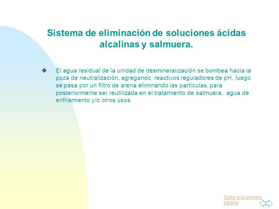 Saltar a la primera página Sistema de eliminación de soluciones ácidas alcalinas y salmuera.