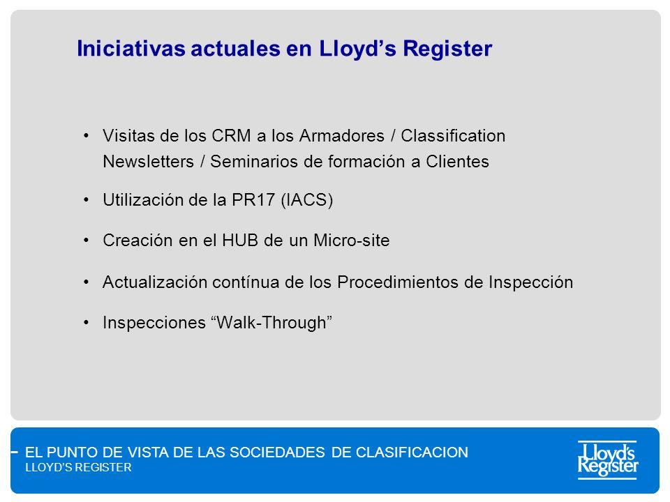 EL PUNTO DE VISTA DE LAS SOCIEDADES DE CLASIFICACION LLOYDS REGISTER Iniciativas actuales en Lloyds Register Visitas de los CRM a los Armadores / Clas