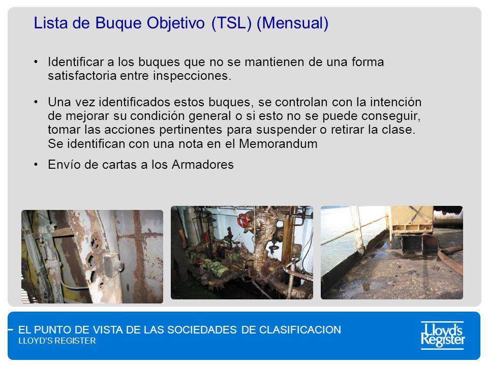 EL PUNTO DE VISTA DE LAS SOCIEDADES DE CLASIFICACION LLOYDS REGISTER Lista de Buque Objetivo (TSL) (Mensual) Identificar a los buques que no se mantie