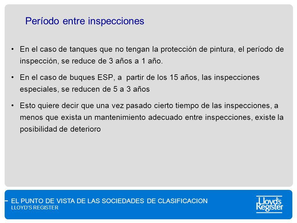 EL PUNTO DE VISTA DE LAS SOCIEDADES DE CLASIFICACION LLOYDS REGISTER Período entre inspecciones En el caso de tanques que no tengan la protección de p