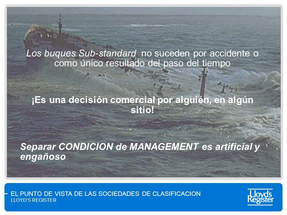 EL PUNTO DE VISTA DE LAS SOCIEDADES DE CLASIFICACION LLOYDS REGISTER Los buques Sub-standard no suceden por accidente o como único resultado del paso