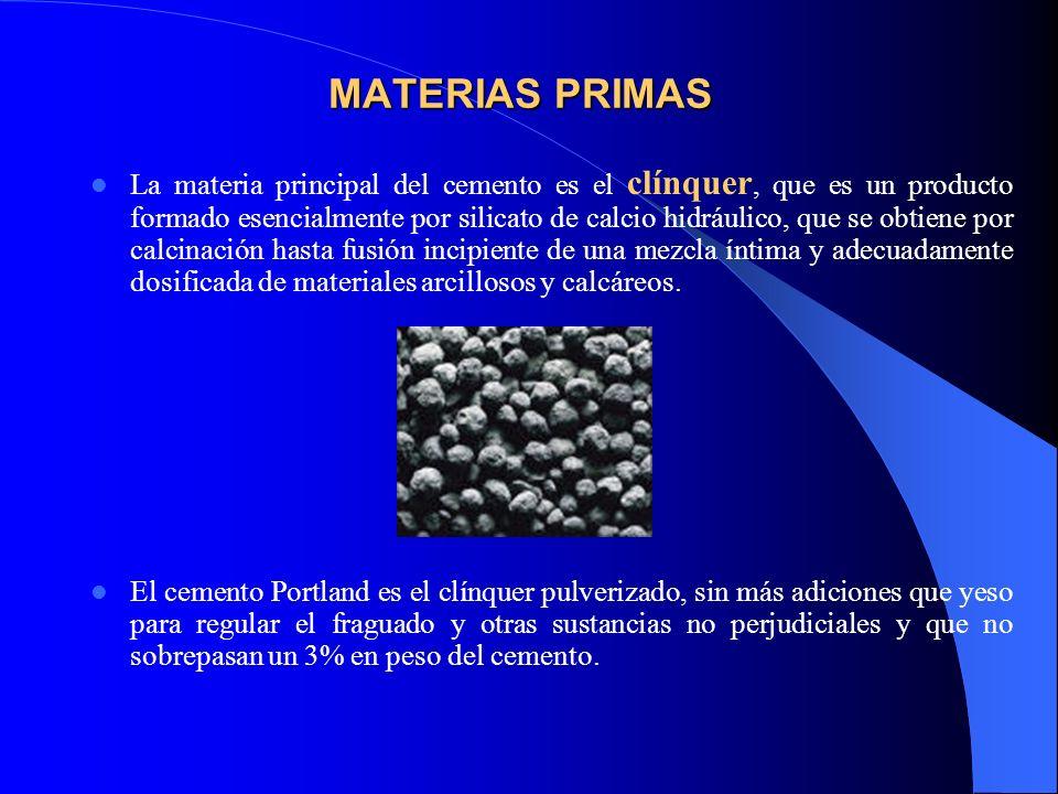 MATERIAS PRIMAS La materia principal del cemento es el clínquer, que es un producto formado esencialmente por silicato de calcio hidráulico, que se ob