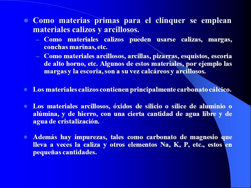 Como materias primas para el clínquer se emplean materiales calizos y arcillosos. – Como materiales calizos pueden usarse calizas, margas, conchas mar